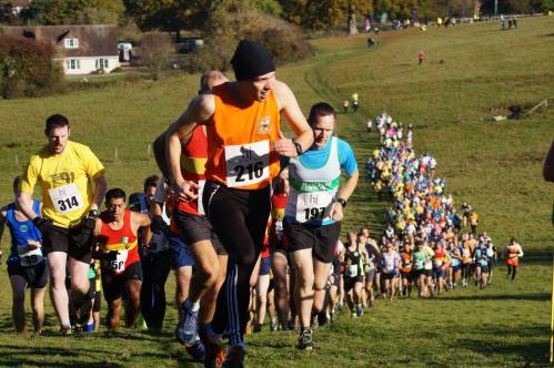 Entrants climb Denne Hill at the start of the Gunpowder Trot. Photo: Horsham Joggers