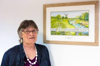 Heather Glenny with her Chesworth wetland watercolour (Picture Eve Delves)