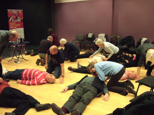 Friends of Chesworth Farm learning emergency first aid from Horsham Community Responders (Photo: David Moore)