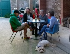 Members of the Friends of Chesworth Farm enjoy refreshments in the Volunteer Centre